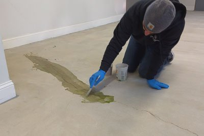 mending the concrete before applying concrete coating