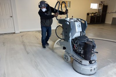 preparing the concrete floor